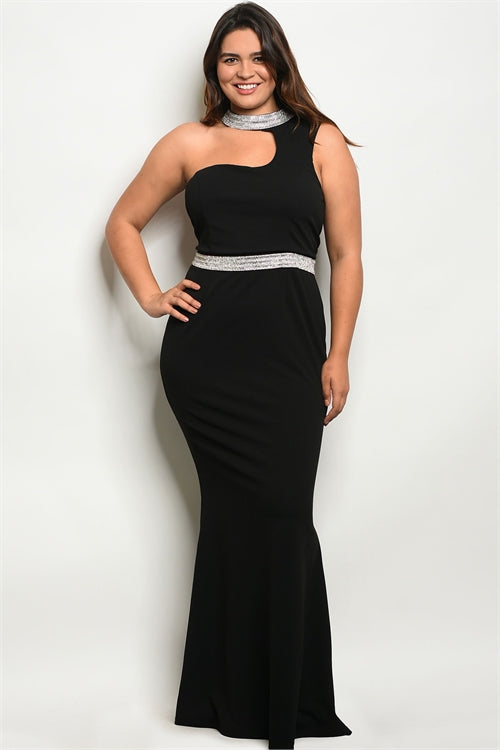 Curvy7 Stoned Black Mermaid Dress