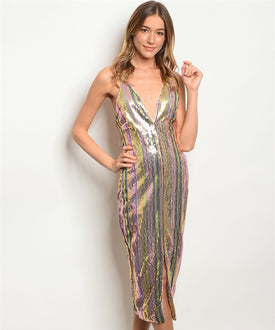 Multi-Colored Sequin Wiggle Dress