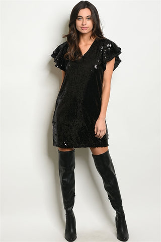 Ruffle Sleeve Sequin Dress/Top