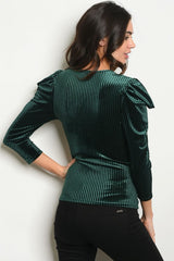 Dark Green Puff Sleeve Top