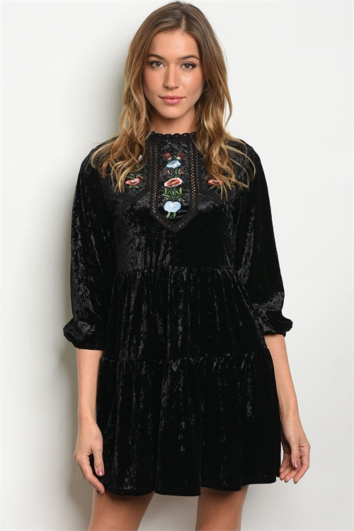 Black Velvet Baby Doll Dress/Top