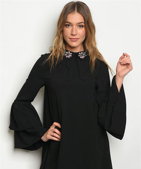 Jeweled Collar Black Tiered Sleeve Dress/Top