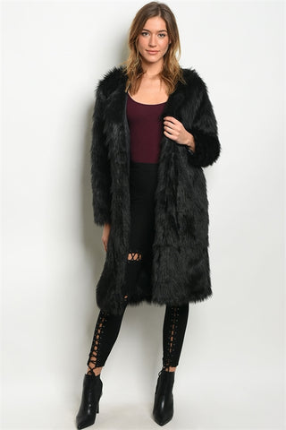 Black Faux Fur Duster