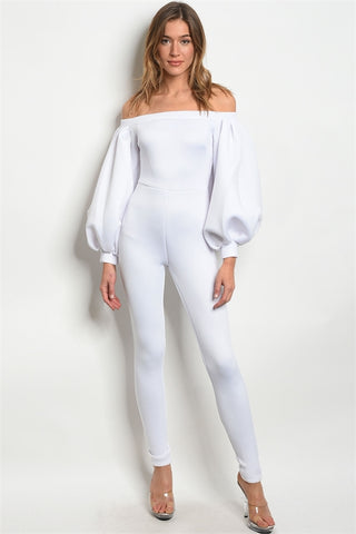 White Bouffant Sleeve Jumpsuit