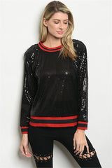 Black and Red  Trim Sequins Top