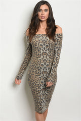 Leopard Off Shoulder Dress