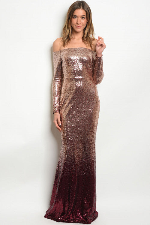 a16550b395 Blush Gold Burgundy Sequins Mermaid Dress – ICONIC7