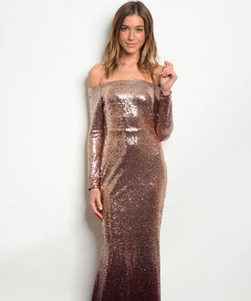 Blush Gold Burgundy Sequins Mermaid Dress