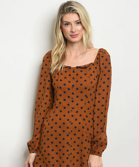 Tan and Navy Polka Dot Dress