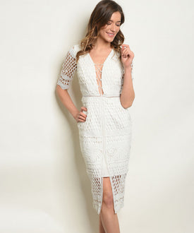 White Net Lace Up Dress