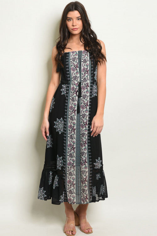 Nicole Boho Black Tassel Maxi Dress