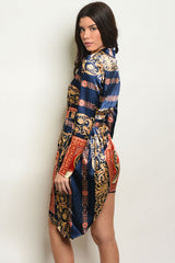 Blue Gold Royal Print Dress/Top