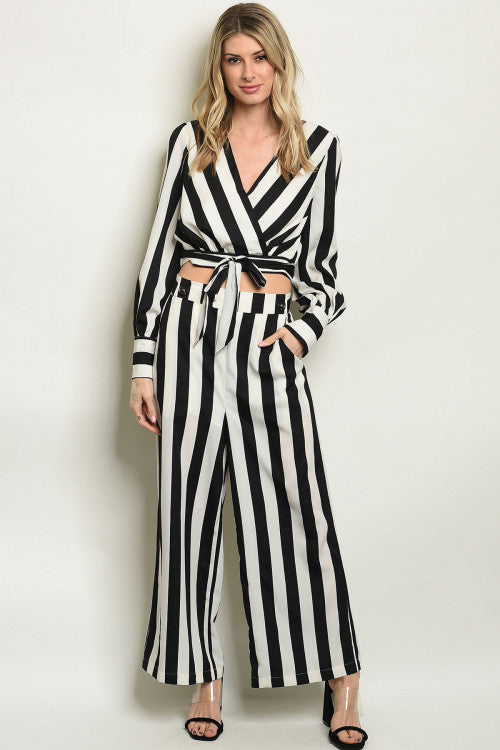 Striped Black and White Two-Piece Set