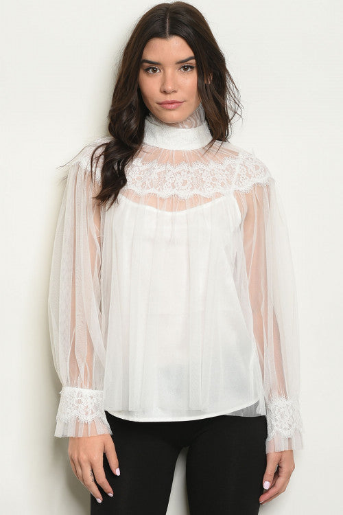 Ivory Sheer Lace Turtleneck Top