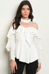 Liz Sheer Ruffle Top