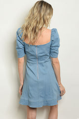 Denim Power Sleeve Dress
