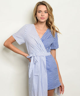 Pinstripe Blue and White Asymmetrical Dress