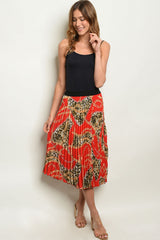 Red Leopard Chain Print Skirt
