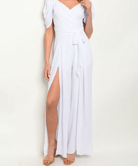 White Slit Jumpsuit