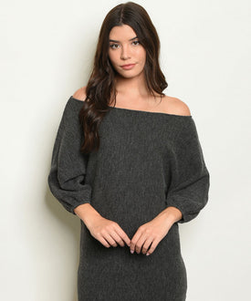 Gray Off-Shoulder Sweater Dress/Top