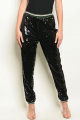 Black Sequins Joggers Pants