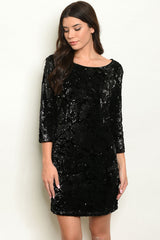 Black Sequins and Velvet Dress