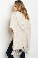 Beige Over-sized Boho Poncho