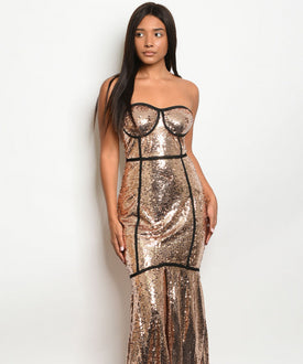 Rose Gold Sequins Tuxedo Dress