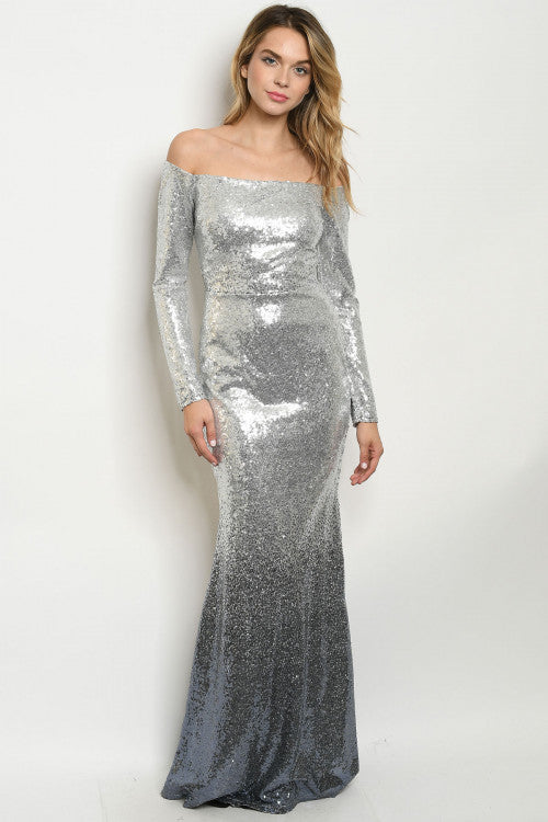 Silver Slate Blue Sequins Mermaid Dress