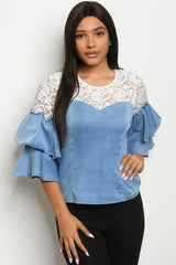 Denim and Ivory Lace Bell Sleeve Top