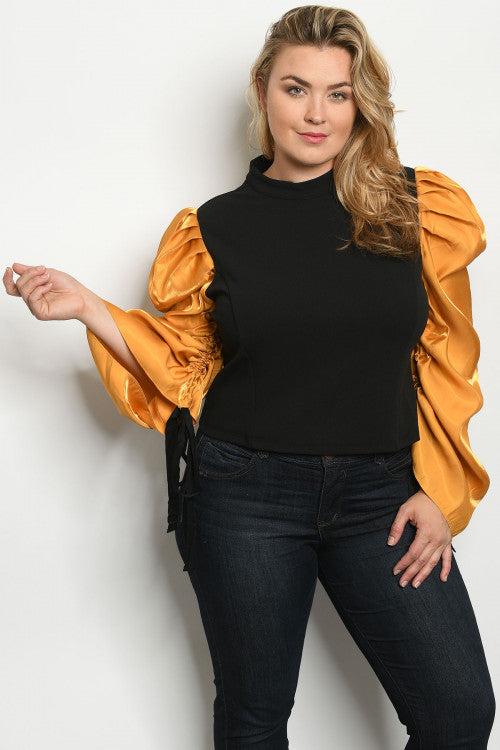Black and Gold Sleeve Bouffant Sleeve Top