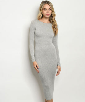 Body Slimming Midi Dress Gray