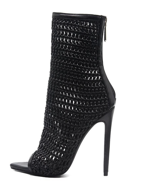 Black Cage Pointed Bootie