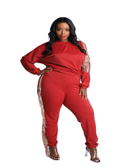 Curvy7 Casual Glam Burgundy Set