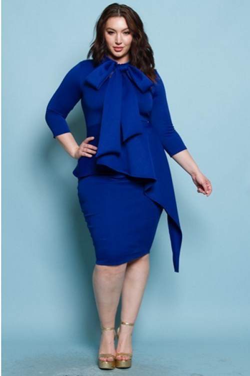 Curvy7 Cobalt Peplum Dress