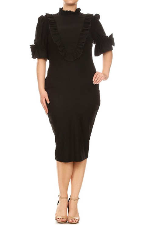 Curvy7 Black Bib Ruffle Dress