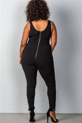 Curvy7 Black Lace-up Jumpsuit