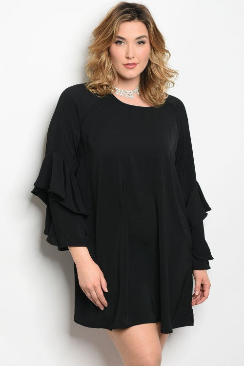 Curvy7 Black Ruffle Dress/Top
