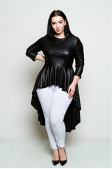 Curvy7 Black Leatherette High- Low Top
