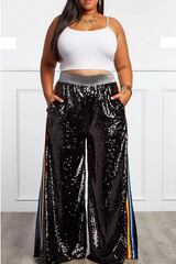 Curvy7 Black Sequins Multi-Colored Striped Pants