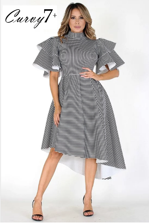 Curvy7 Thin Striped Black and White Dress