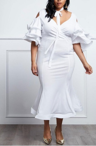 Curvy7 White Ruffle Sleeve Dress