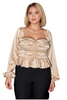 Champagne Satin Peplum Top