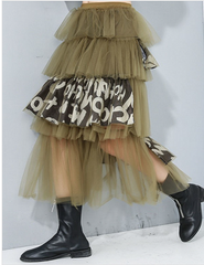 Olive Tulle Graphic Skirt