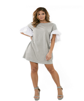 Gray and White Puffed Sleeve Top/Dress