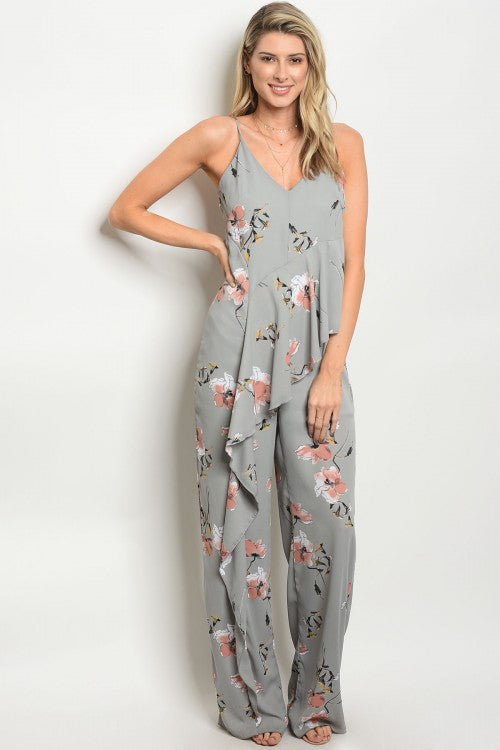 Gray Ruffle Floral Jumpsuit
