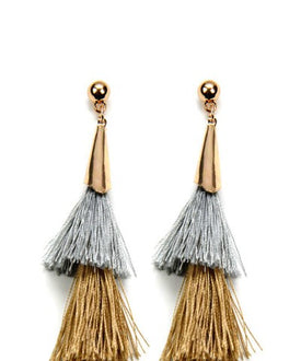 Gray and Gold Tassel Earrings