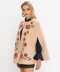 Embroidered Flower Cape