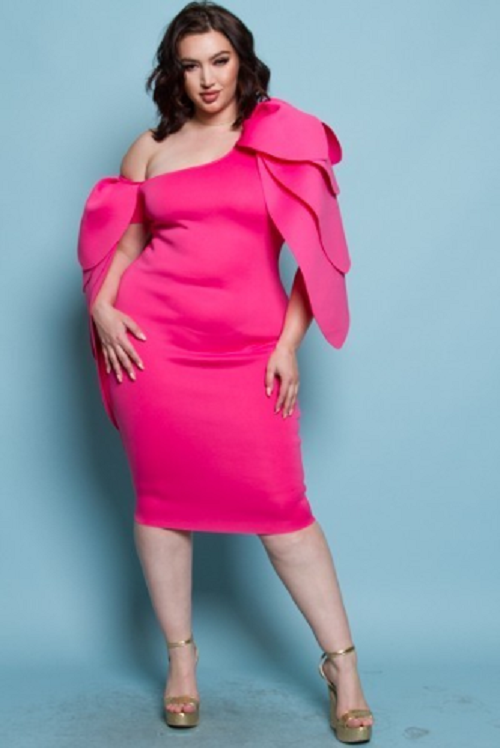 Curvy7 Hot Pink Cape Sleeve Dress