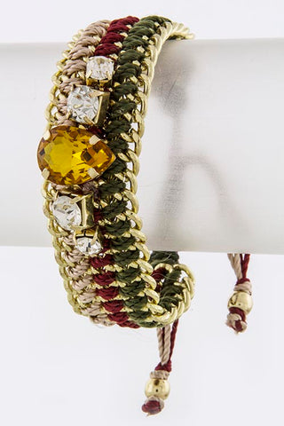 Olive Colored Gem Stone Thread Bracelet